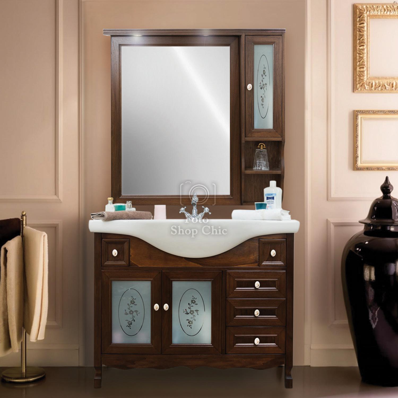 Accessori Da Bagno Classici.Completo 105 Arredo Bagno Classico Noce Elegance Specchio A Pensile Le Chic Arredamenti