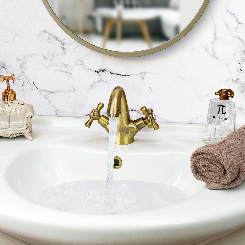 Rubinetto bronzato per lavabo in stile antico
