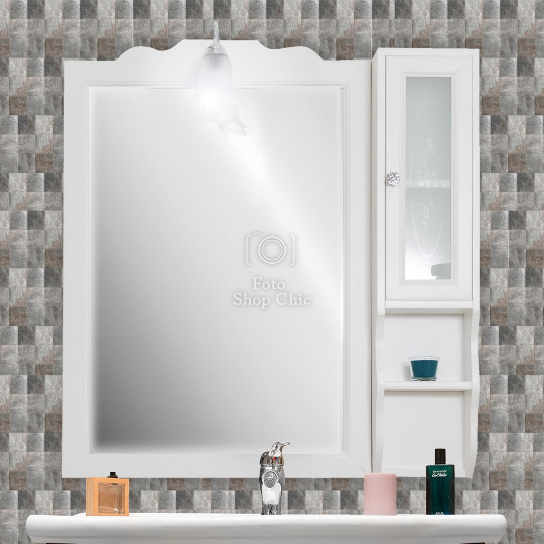 Specchio Bagno 80.Specchiera Specchio Bagno Pensile In Legno Bianco Con Applique Cromo 80 Cm Le Chic Arredamenti