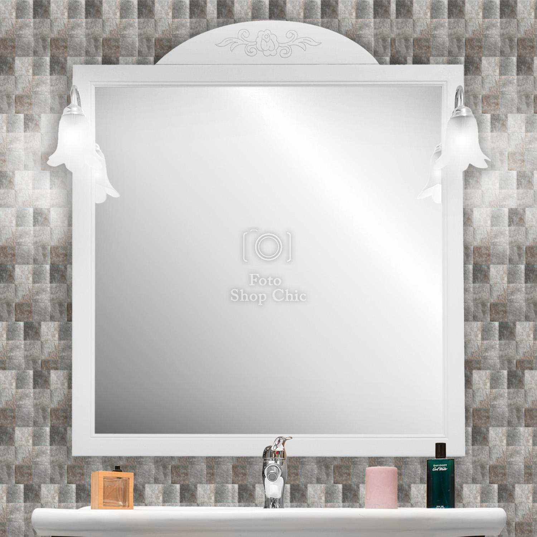 Specchio Da Bagno 80 Cm In Legno Bianco Con Cornice E Applicchi Cromati Le Chic Arredamenti