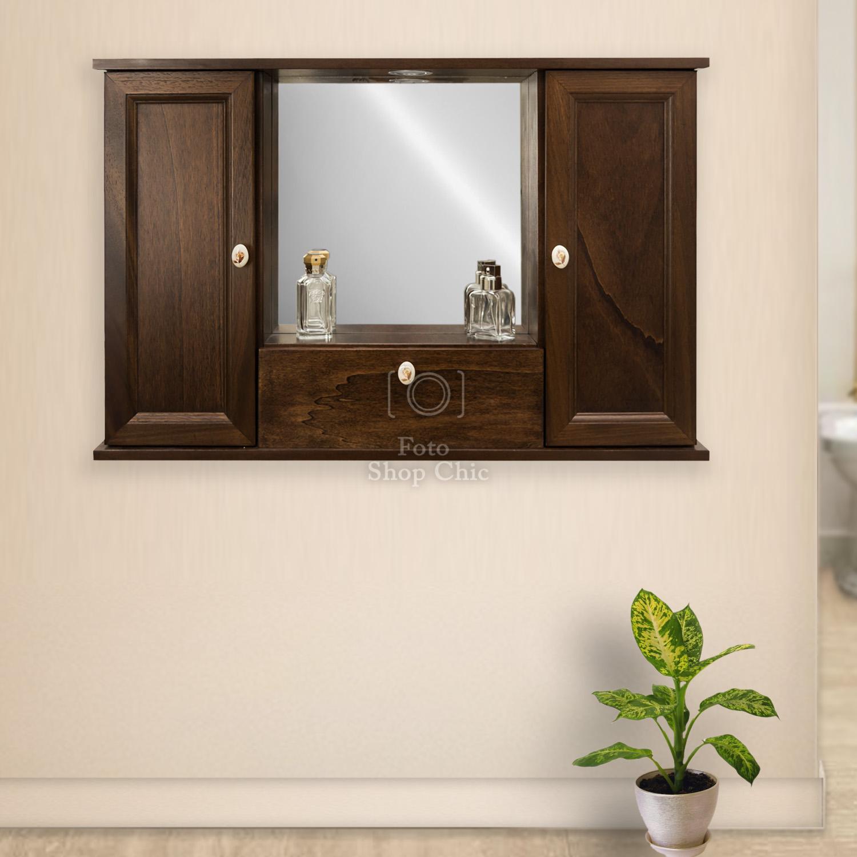 Specchio Da Bagno Arte Povera Con Ante E Ribalta Legno Color Noce Le Chic Arredamenti