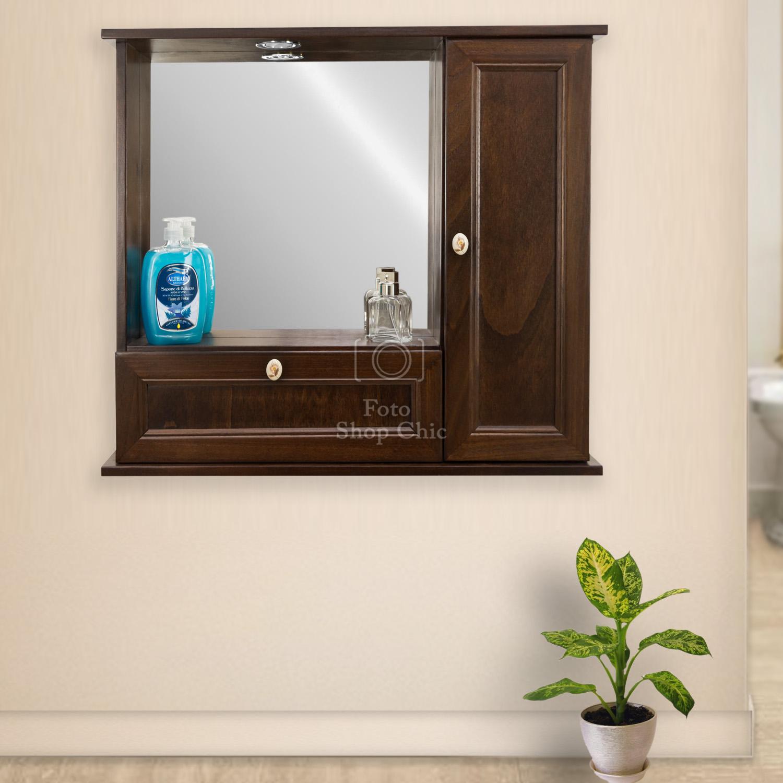 Specchio Bagno Arte Povera.Specchio Da Bagno Arte Povera Con Anta E Ribalta Legno Color Noce Le Chic Arredamenti