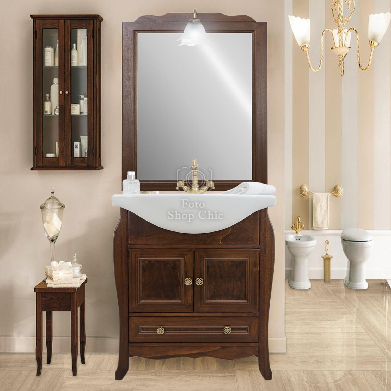Mobile Bagno Arte Povera 65cm Con Specchio Le Chic Arredamenti