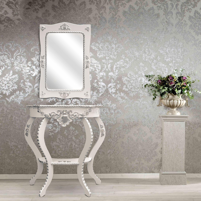 Consolle stile contemporaneo con foglia argento e specchio