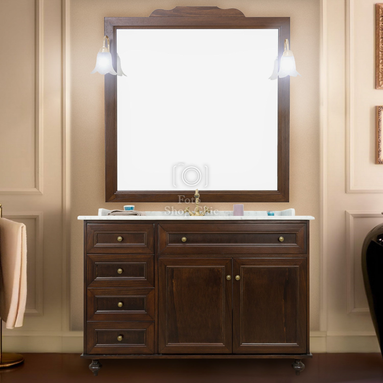 Specchiera Bagno Arte Povera.Mobile Da Bagno Con Specchiera E Top In Marmo Classico Color Noce