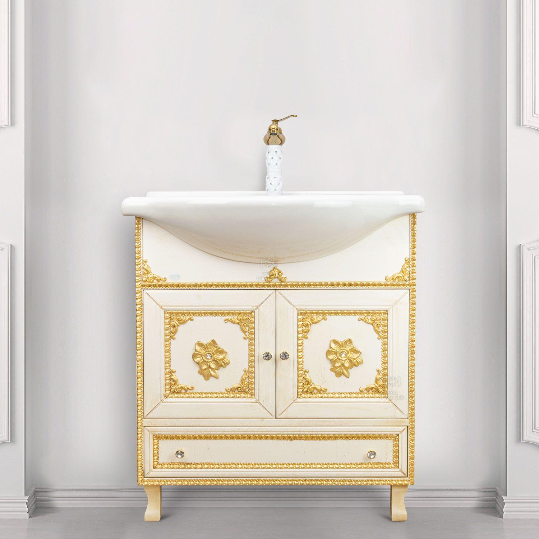 Arredo bagno barocco 75 cm decorato base e lavabo
