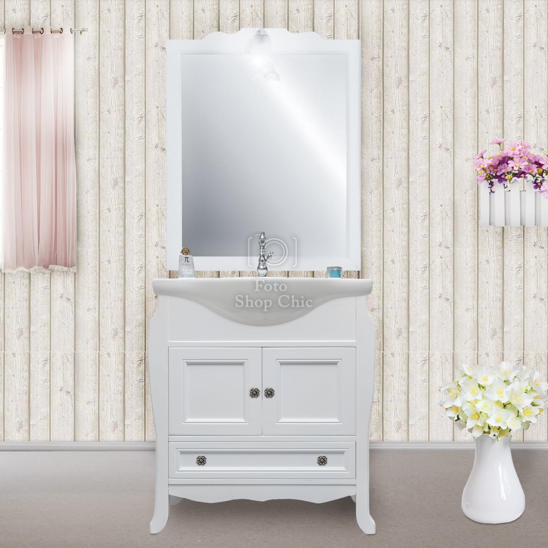 Arredo bagno shabby chic per piccoli spazi in legno bianco