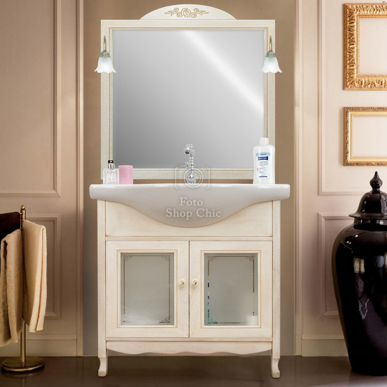 Arredo Bagno Mobili Bagno.Arredo Bagno 75 Classico Mobile Bagno Decapato Specchio Vetro Decorato Le Chic Arredamenti