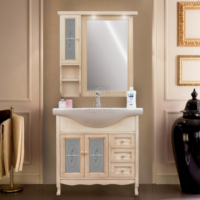Arredo Bagno 85 Cm Mobile Bagno Decapato Specchio Pensile Classico