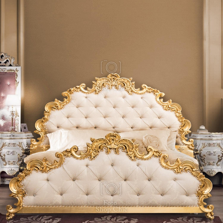 Letto Matrimoniale Tessuto Damascato Panna E Foglia Oro Stile Barocco Italiano Le Chic Arredamenti