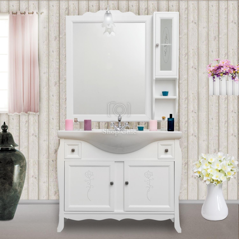 Arredo Bagno Shabby Chic mobile bagno shabby chic con decori incisi completo di specchio pensile e  applique