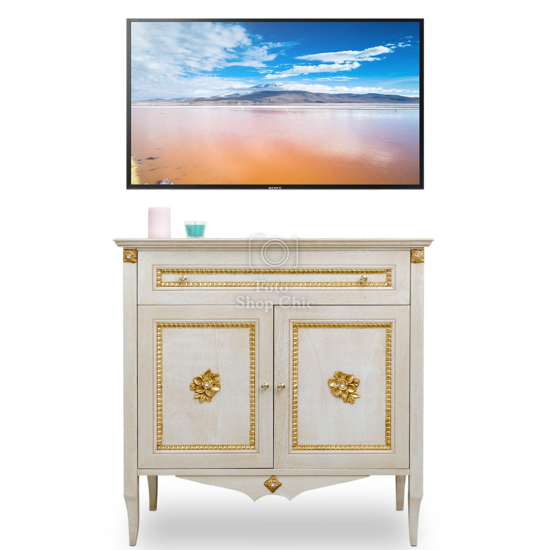 Porta Tv Foglia Oro.Porta Tv In Stile Barocco Decape Decorato In Foglia Oro Le Chic