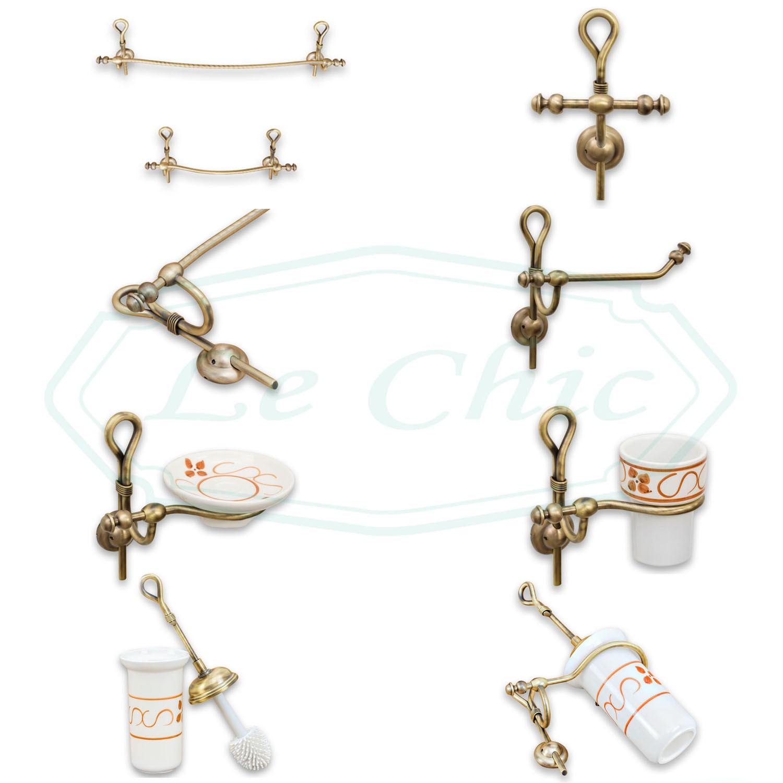 Accessori Bagno In Ceramica Decorata.Set Accessori Da Bagno Bronzo Ceramica Decorata E Intreccio Color Bronzo Le Chic Arredamenti