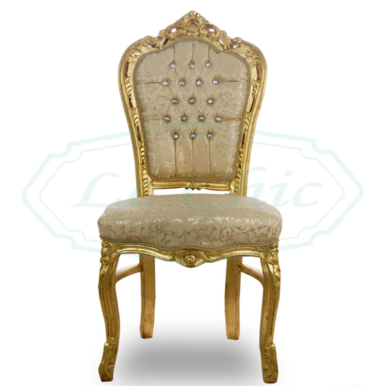 Sedia in stile barocco foglia oro damascato in legno massello con bottoni