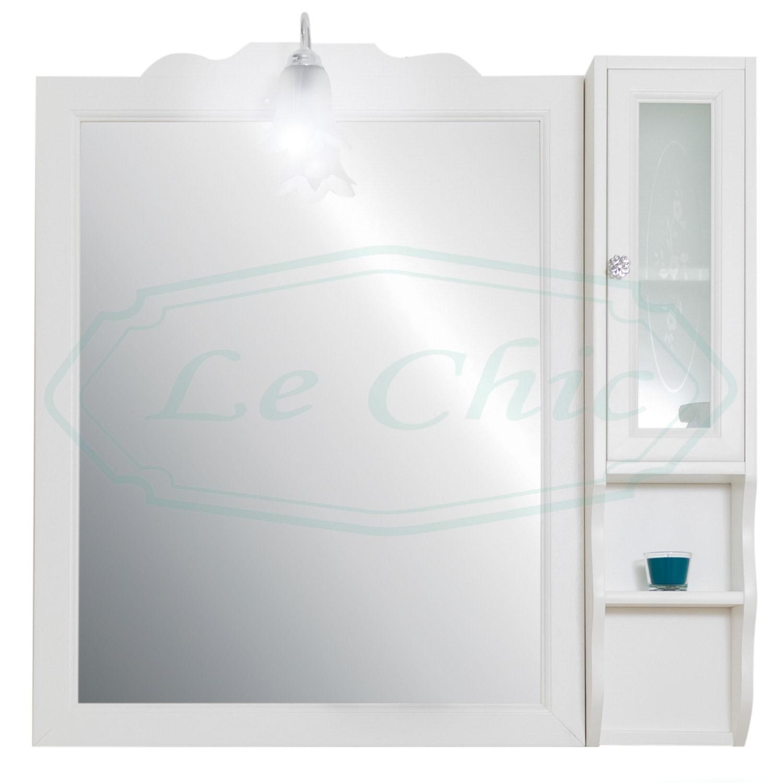 Specchio Bagno Bianco.Specchiera Specchio Bagno Pensile In Legno Bianco Con Applique