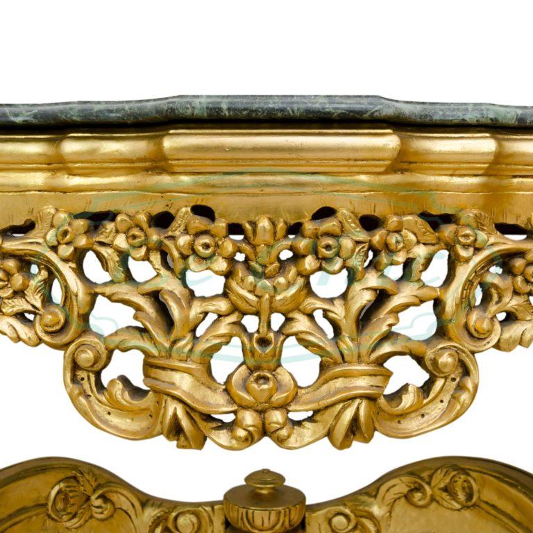 Consolle barocco imperiale con specchio e top in marmo ...