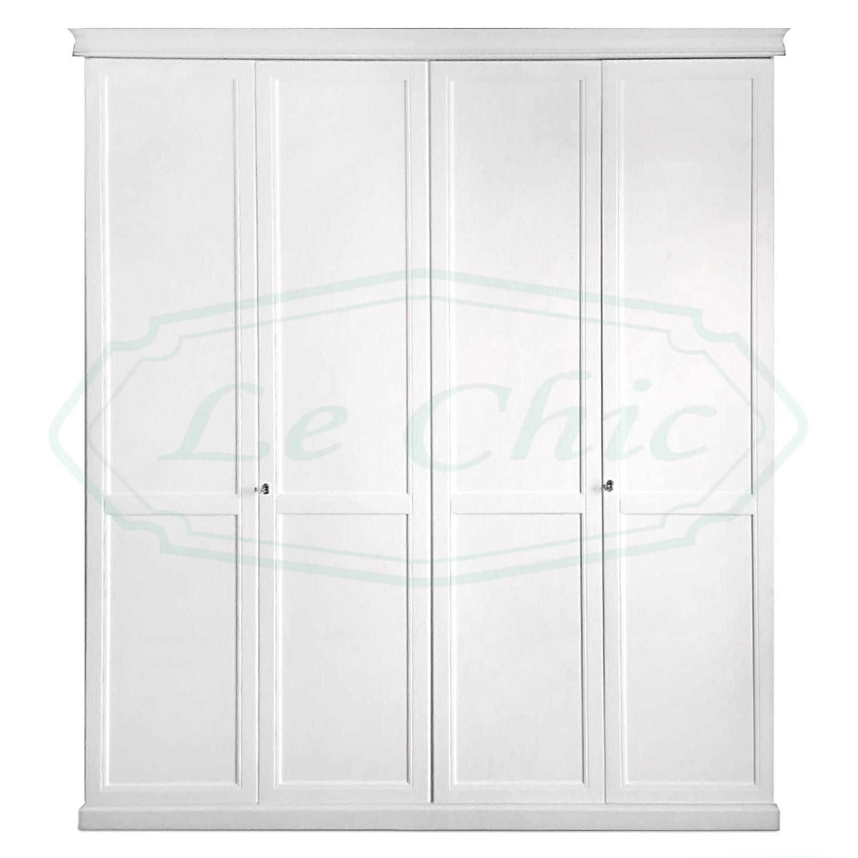 Armadio 4 ante shabby chic in legno bianco provenzale - Le ...