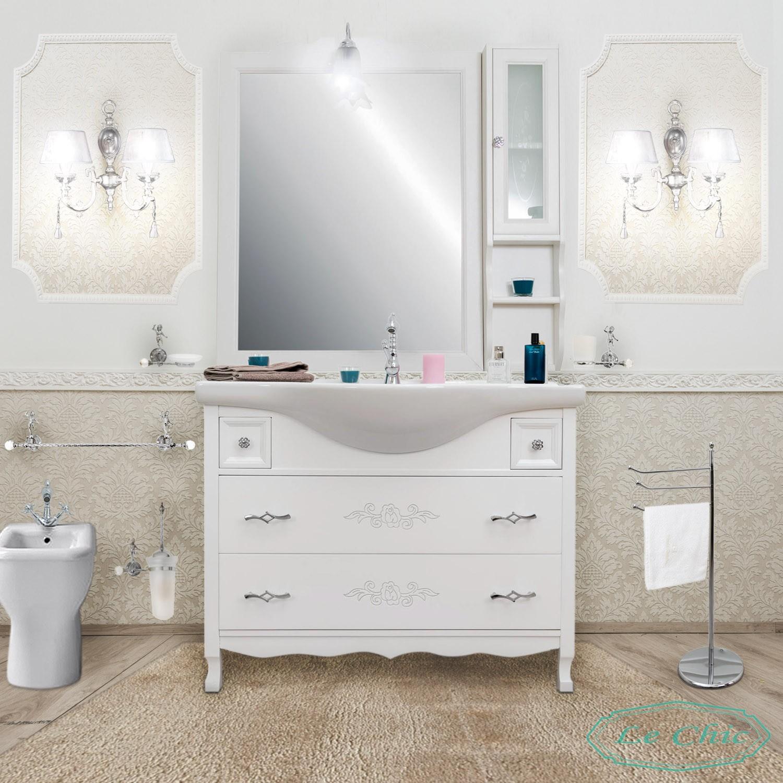 Arredo Bagno Shabby Chic arredo bagno 105cm contemporaneo bianco shabby specchio cassettoni  ammortizzati