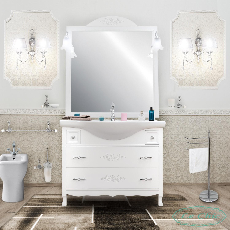 Arredo Bagno Shabby Chic arredo bagno 105 contemporaneo bianco shabby specchio cassettoni  ammortizzati