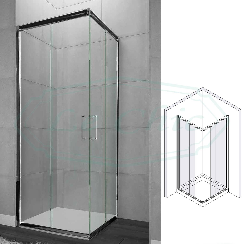 Box Doccia Con Entrata Ad Angolo Quadrato 90x90 Trasparente Le Chic Arredamenti