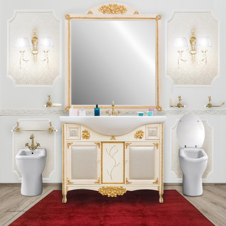 Arredo Bagno In Stile.Arredo Bagno In Stile Barocco Avorio Foglia Oro E Swarovski Rococo Le Chic Arredamenti