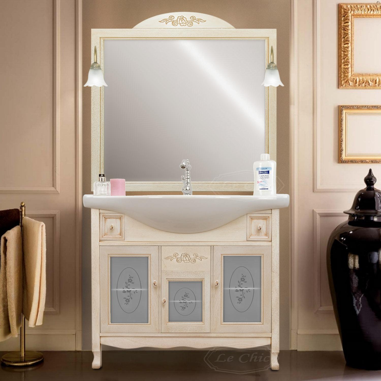 Applique Specchio Bagno Moderno mobile da bagno decapato intagliato con lavabo e specchio con applique