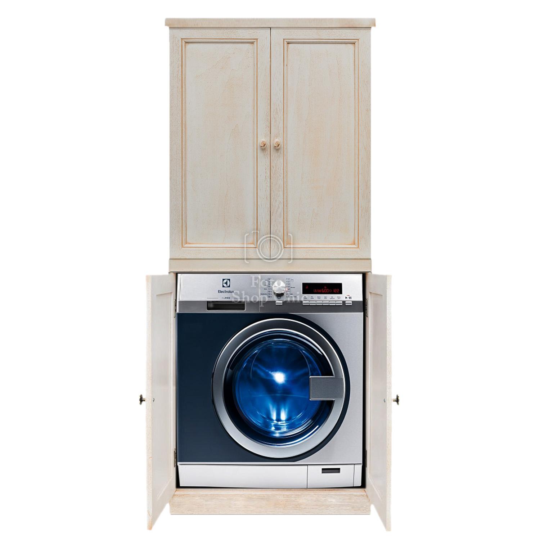 Colonna Per Lavatrice E Asciugatrice mobile colonna con ante porta lavatrice e asciugatrice salvaspazio finitura  decapè avorio