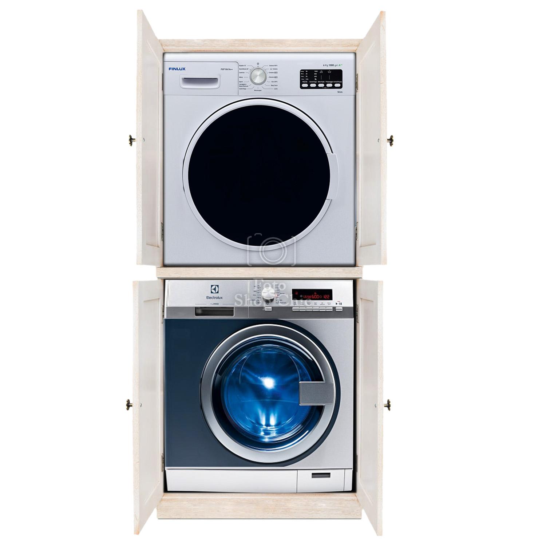Mobile Bagno Con Colonna Lavatrice mobile colonna con ante porta lavatrice e asciugatrice salvaspazio finitura  decapè avorio