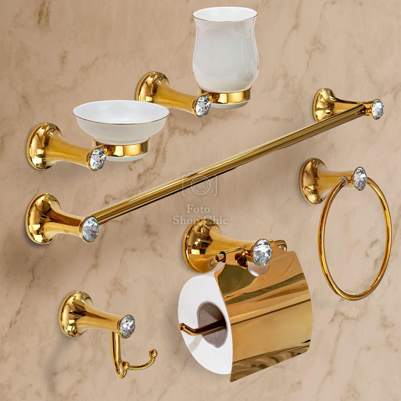 Accessori Bagno Ottone Oro.Accessori Bagno Oro Pleiadi Con Brillanti Stile Swarovski 6 Pezzi