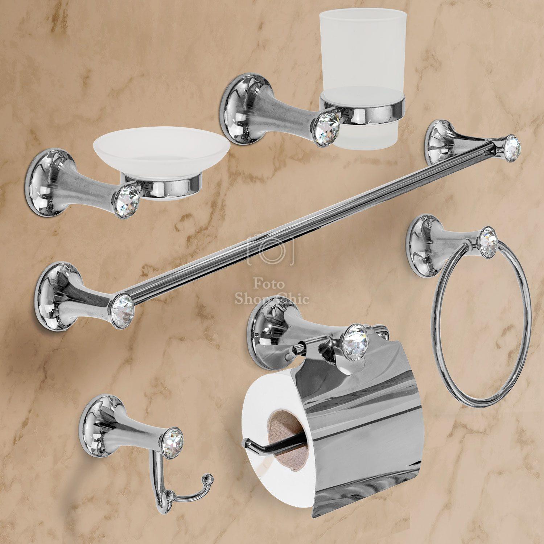 Accessori bagno Cromo Pleiadi con brillanti stile Swarovski 6 pezzi