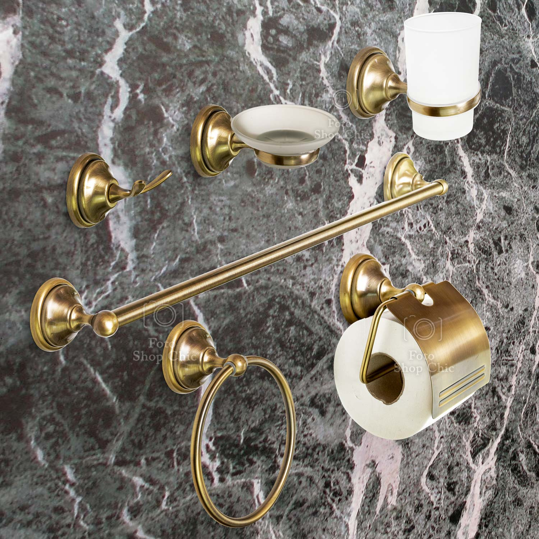 Accessori Bagno Ottone Oro.Set Accessori Bagno In Ottone 6 Pezzi Bronzo Le Chic Arredamenti