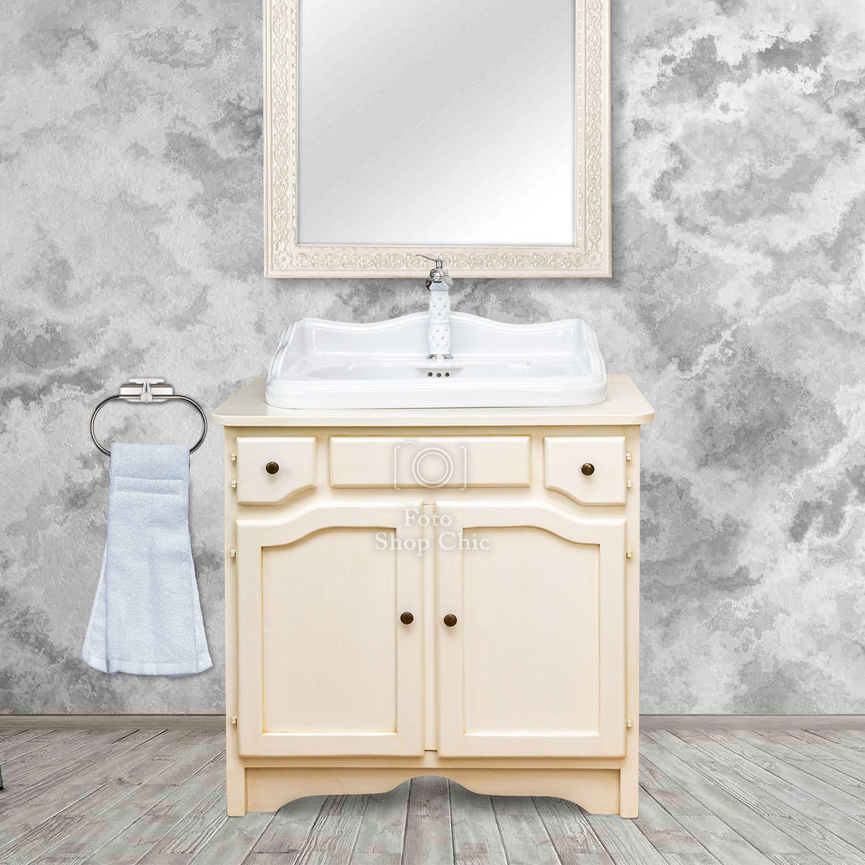 Mobile da bagno Jupiter in avorio con lavabo decorato
