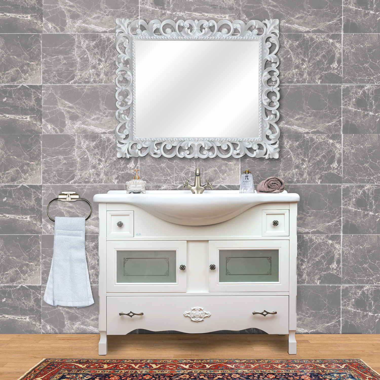 Mobile Bagno Rossella Bianco Laccato Completo Di Lavabo E Specchio