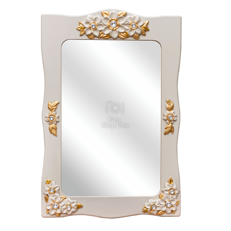 Specchio ingresso in stile barocco bianco avorio laccato foglie dorate e brillanti tipo swarovski