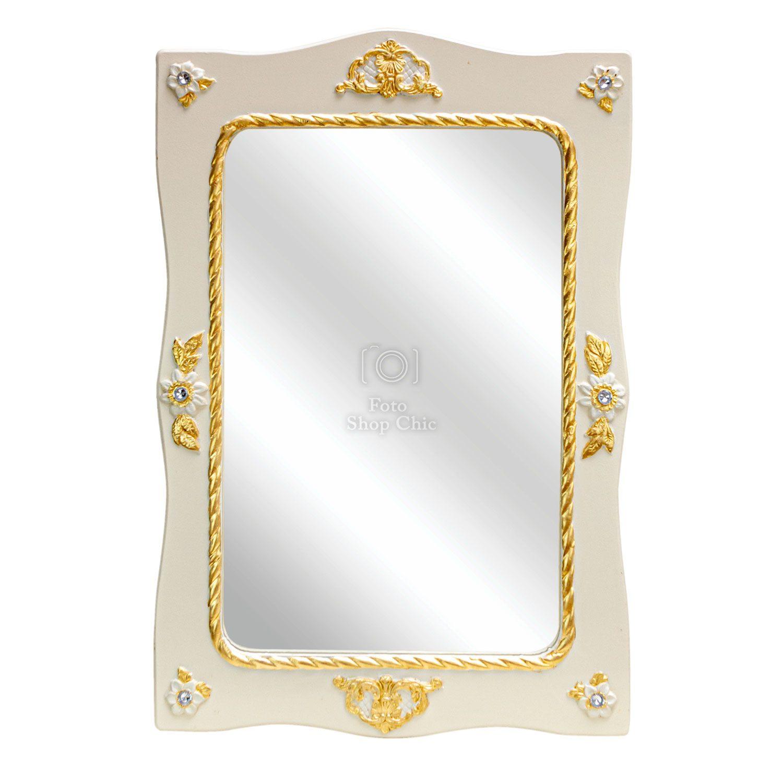 Specchio barocco in legno avorio laccato e foglia oro con diamanti stile Swarovski
