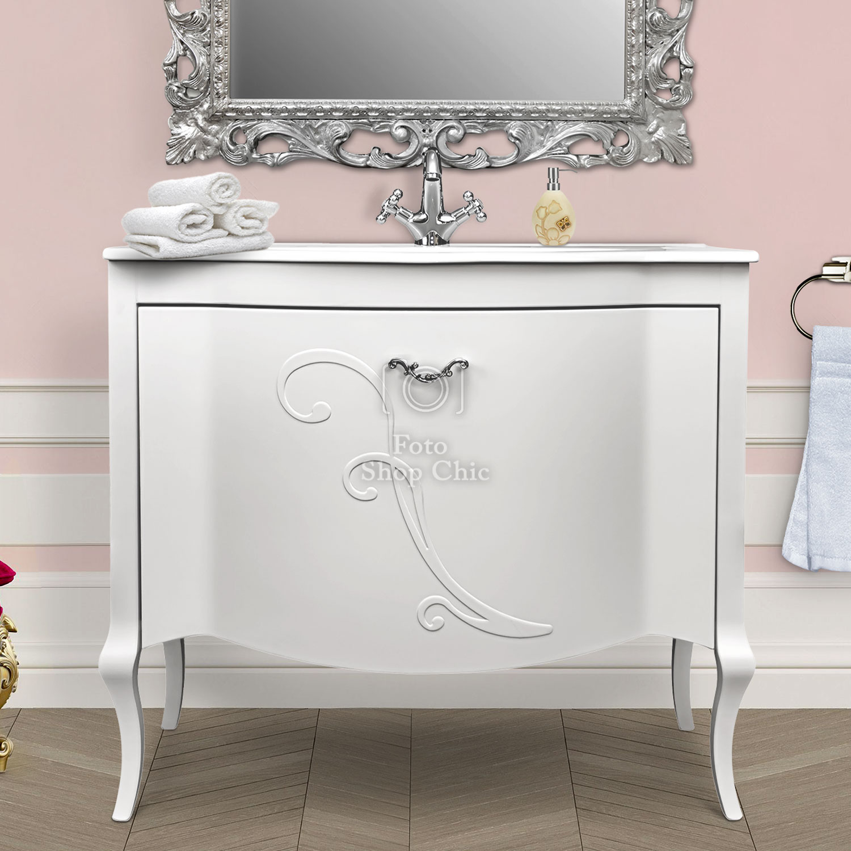 Mobile bagno con lavabo cestone e cassetto interno finitura in bianco