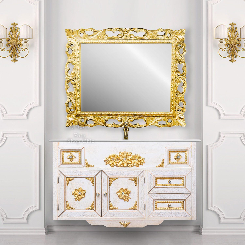 Mobile a sospensione Venezia finitura in decapè brillanti stile Swarovski con specchio traforato Oro