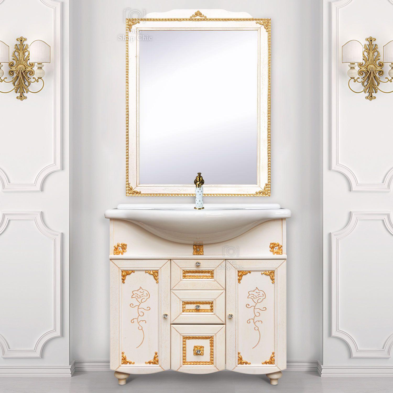 Mobile bagno stile barocco in legno finitura Decapè fregi in foglia oro e specchio