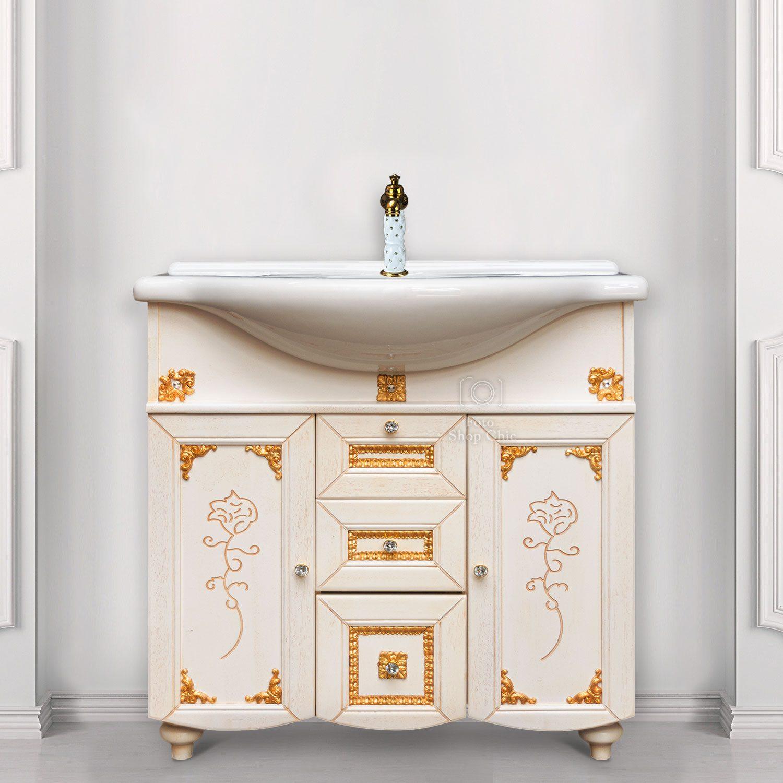 Mobile bagno stile barocco in legno finitura Decapè fregi in foglia oro